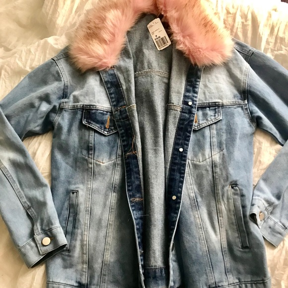 5306ade7d02 Denim Jacket with Detachable Pink Faux Fur Collar